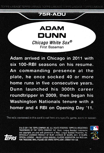 アダム・ダン 2011 Topps Lineage Relics / Adam Dunn