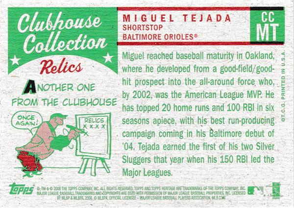 ミゲル・テハダ 2008 Topps Heritage Clubhouse Collection Relics / Miguel Tejada