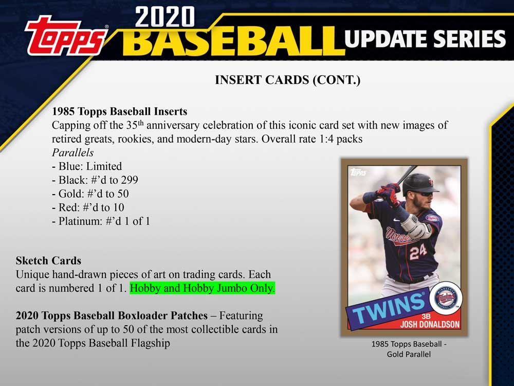 MLB 2020 Topps Update Series Baseball Jumbo 11/9入荷!