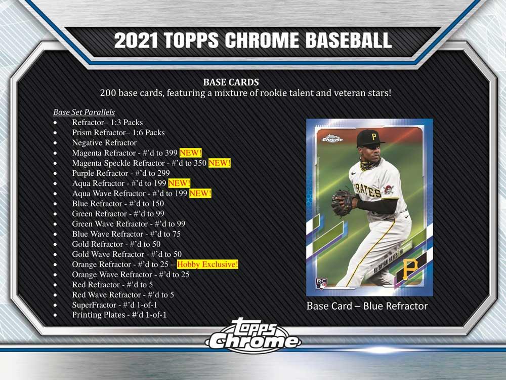 MLB 2021 Topps Chrome Baseball Hobby 8/20入荷