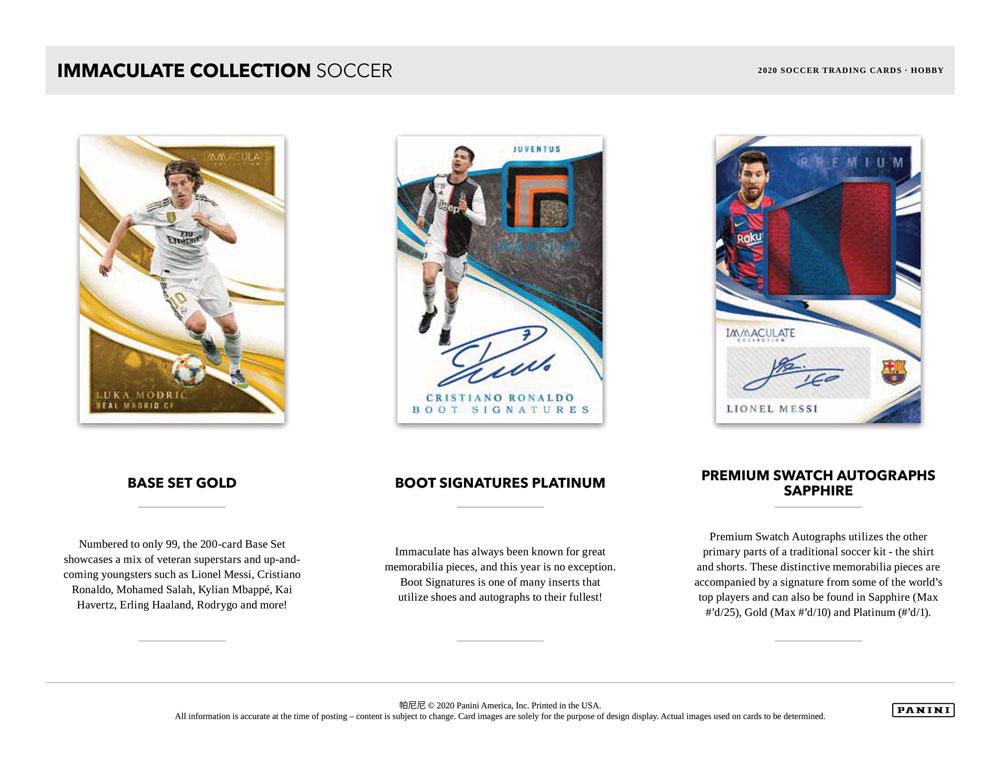 2020 Panini Immaculate Soccer ボックス(Box) 1/12入荷