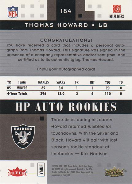 トーマス・ハワード 2006 Fleer Hot Prospects HP Auto Rookies 220/299 Thomas Howard