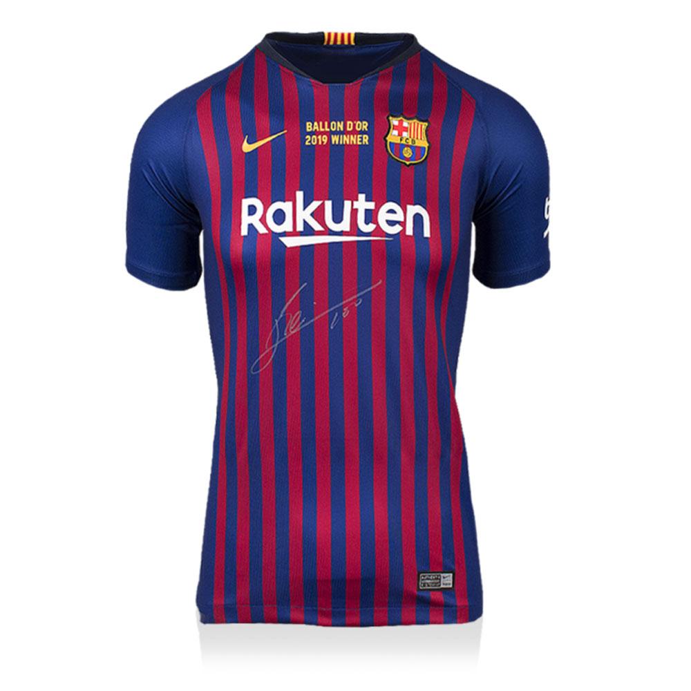 リオネル・メッシ 直筆サインユニフォーム 2018-19 FC バルセロナ ホーム バロンドールウィナーエディション フロントサイン (Lionel Messi Official Front Signed FC Barcelona 2018-19 Home Shirt: 2019 Ballon d'Or Winner Edition)