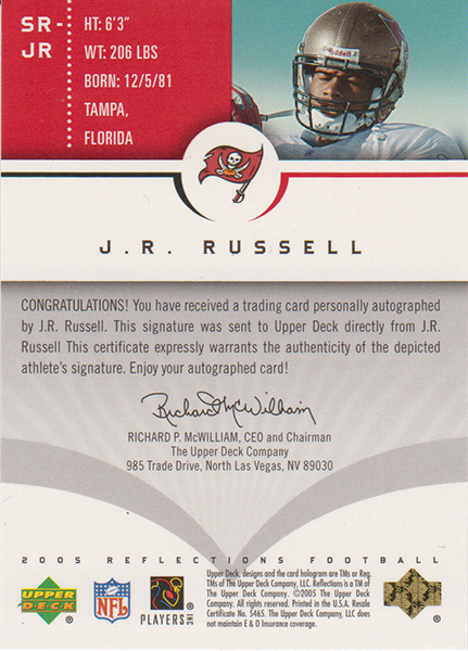 JR・ラッセル 2005 UD Reflections Signature Reflactions / J.R. Russell
