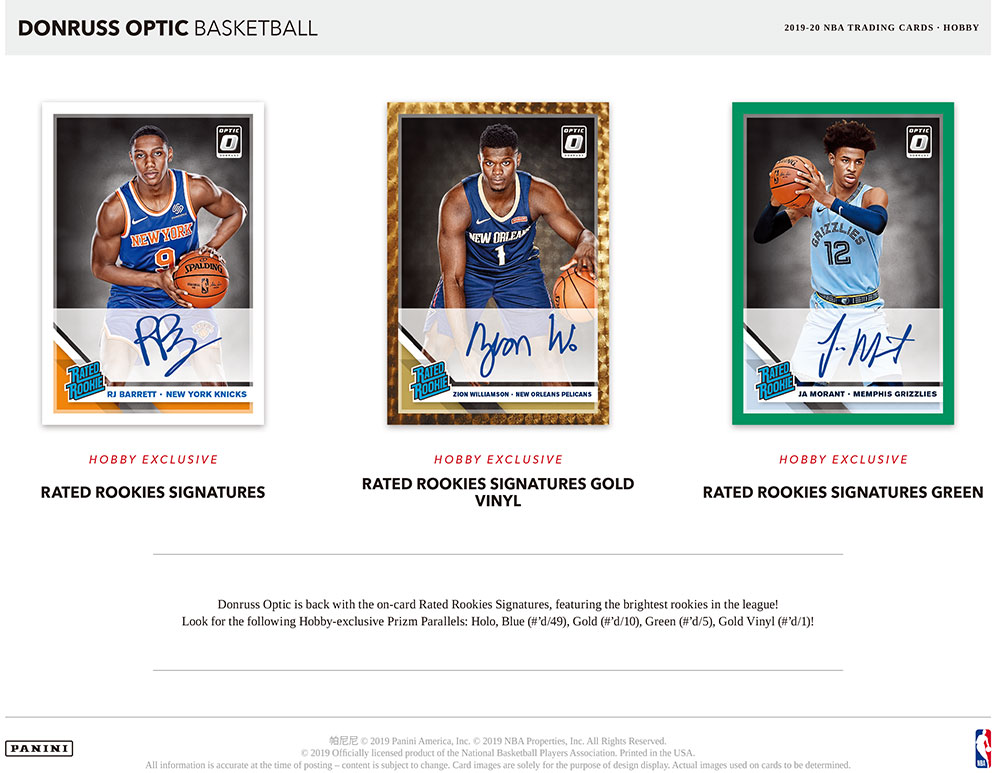 NBA 2019-20 Panini Donruss Optic Basketball Hobby 2/13入荷!八村塁封入!