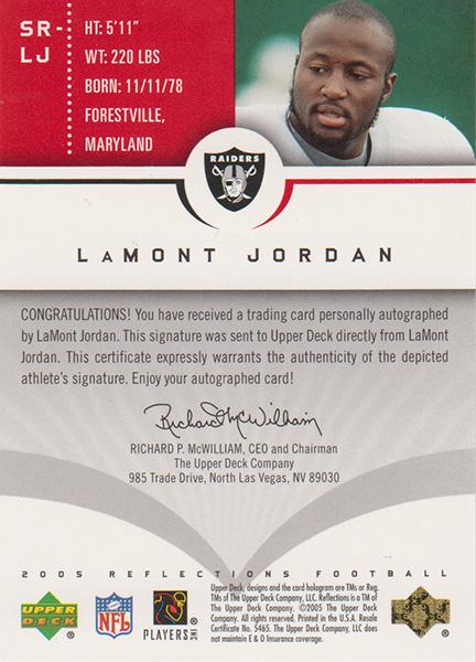 ラモント・ジョーダン 2005 UD Reflections Signature Reflactions / LaMont Jordan