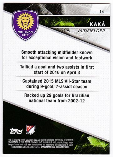 カカ 2016 Topps APEX MLS Soccer Base Card Green #14 48/50 Kaka