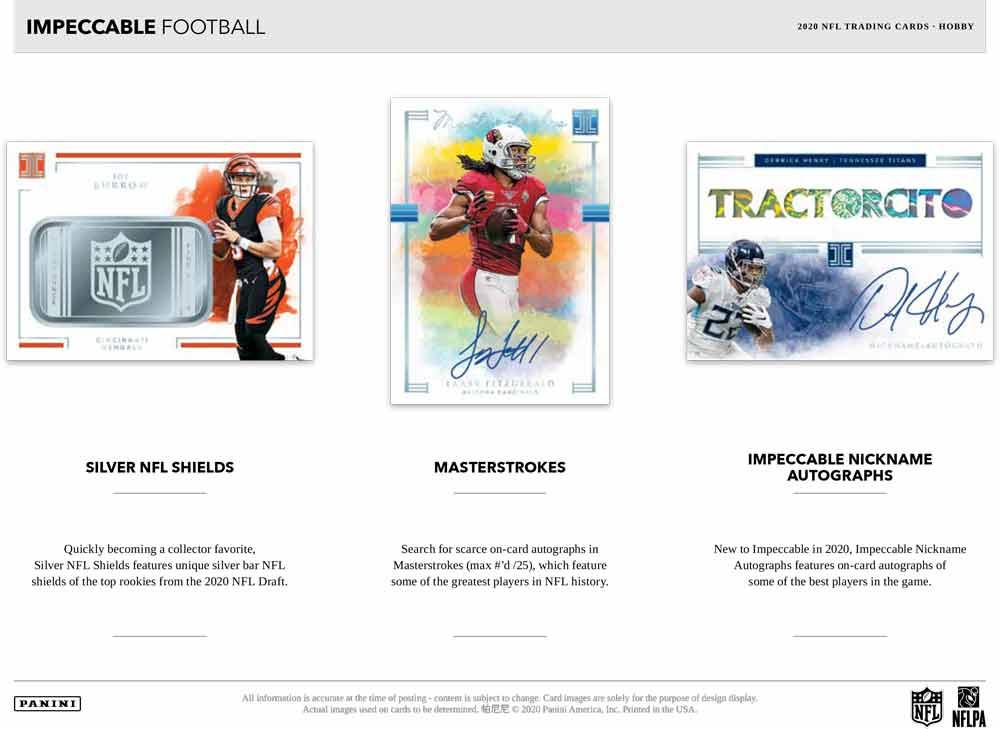 NFL 2020 Panini Impeccable Football 11/25入荷