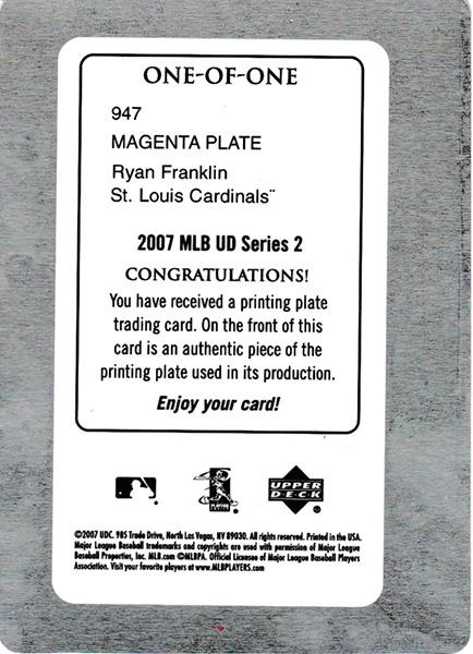 ライアン・フランクリン 2007 UD Series 2 Magenta Printing Plates 1/1 Ryan Franklin