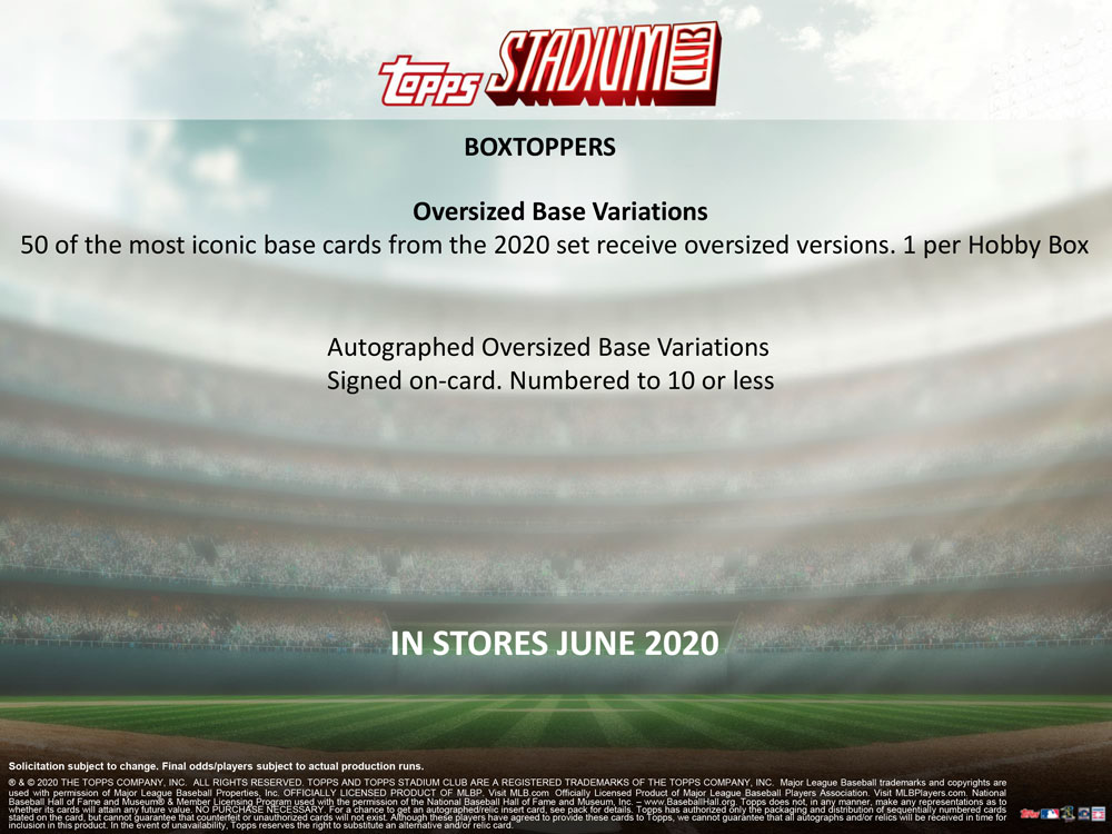 MLB 2020 Topps Stadium Club Baseball 9/2入荷!