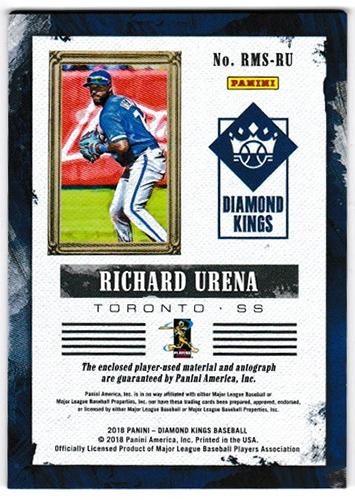 リチャード・ウレーニャ 2018 Panini Diamond Kings Baseball DK Rookie Materials Signatures #RMS-RU 135/299 Richard Urena
