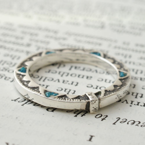 GARDEN OF EDEN TRIANGLE TURQUOISE FLAT RING