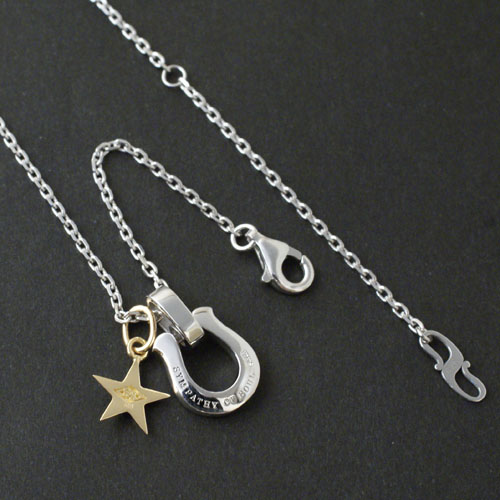 Horseshoe Amulet w/Clear CZ+Small Star Charm - K18Yellow Gold+Silver Square Cable Chain 1.6mm Hook