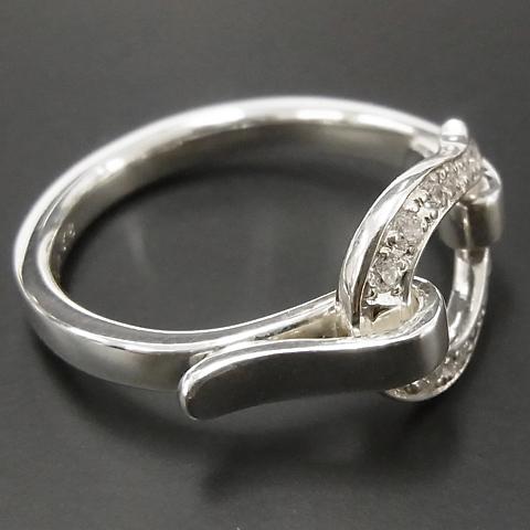 Horseshoe Band Ring - Silver w/CZ