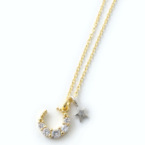 CZ MOON STAR NECKLACE