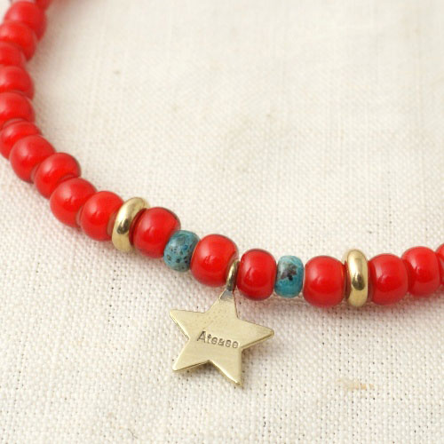 NEW MILITARY STAR BEADS ANKLET LIMITED RED