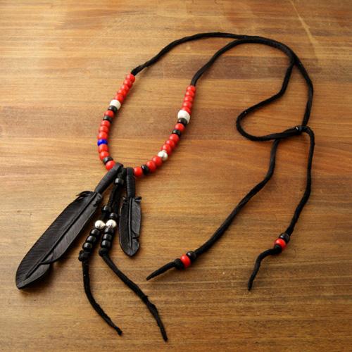 J.D Black Feather Necklace Red・1番人気!ジョニーデップ・三代目JSB岩田剛典モデル