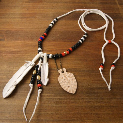 J.D Feather Necklace White