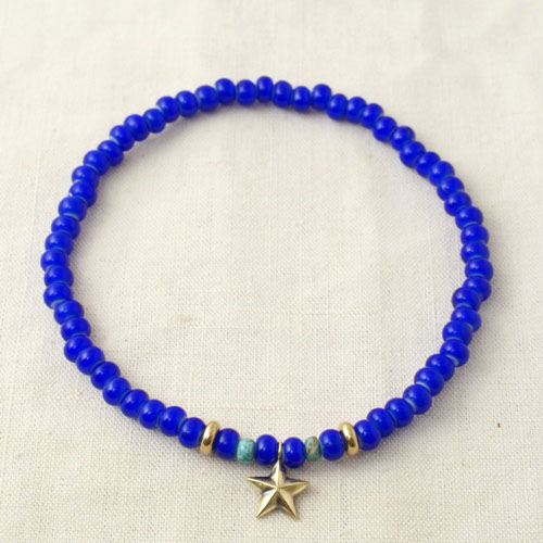 NEW MILITARY STAR BEADS ANKLET LIMITED BLUE