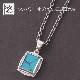 Square Turquoise Pendant - Silver + アジャ丸カン付チェーンCL060いぶし45-50cm
