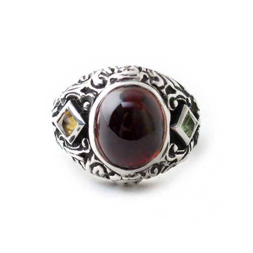 New Libertine Ring Silver Genuine Garnet ver