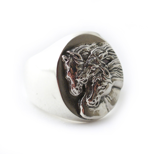 PHARAOHS HORSES RING OVAL LARGE/ALL SILVER