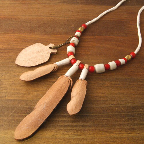 3Feather&Beads Necklace Natural