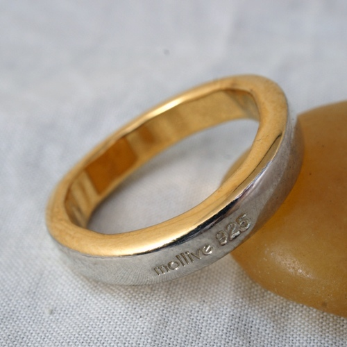 FLAT SILVER WITH 22K GOLD RING