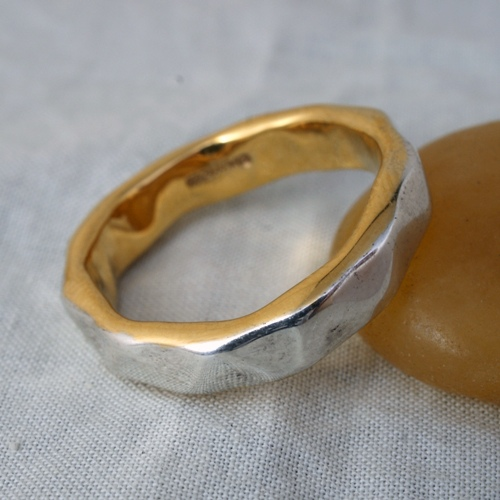 CUT SILVER WITH 22K GOLD RING