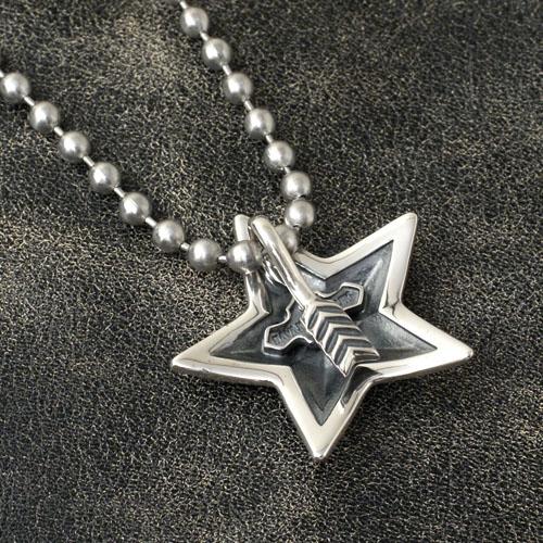SMALL STAR IN STAR PENDANT NEW+STAINLESS BALLCHAIN