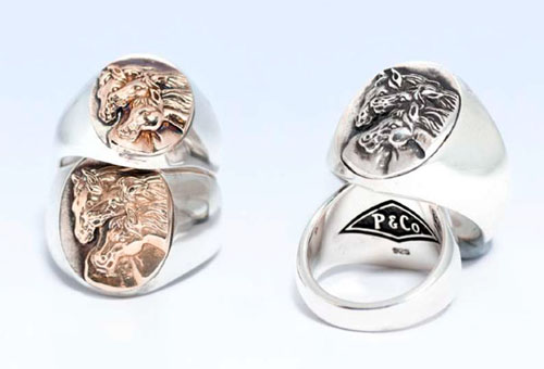 PHARAOHS HORSES RING OVAL SMALL/ALL SILVER
