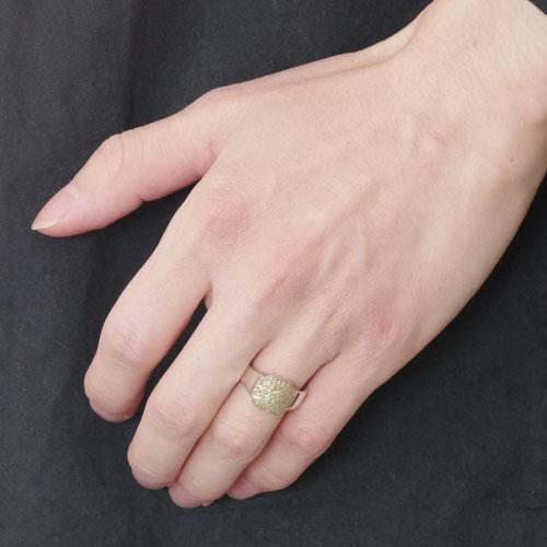 COMBI SIGNET RING SV+K18GREEN