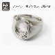 Combination Horseshoe Ring - All Silver