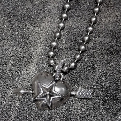 Heart & Sheriff Star ONE Arrow+STAINLESS BALLCHAIN