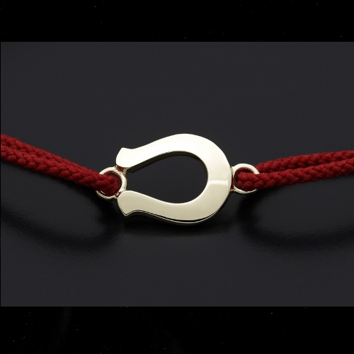 Horseshoe Amulet Cord Bracelet - K10 Yellow Gold