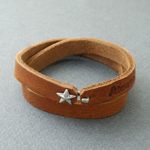 SILVER STAR LEATHER BRACELET