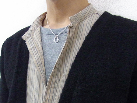 Horseshoe Large Pendant - Silver w/Clear CZ