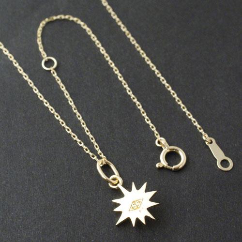 Small Sun Charm - K18Yellow Gold+K18-2段階アジャストチェーン(細0.25)45cm