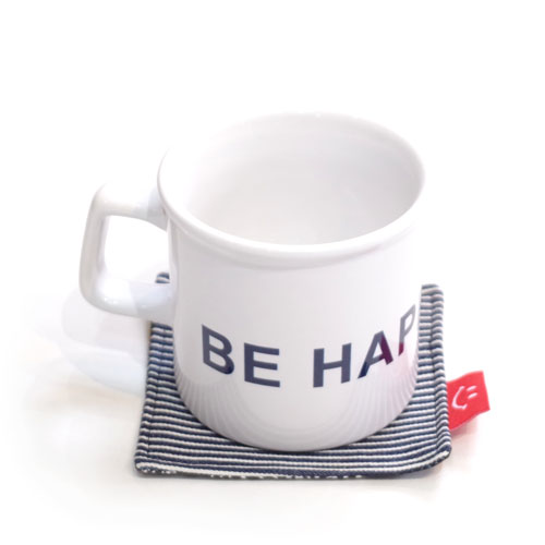 BE HAPPY MUG CUP & COSTER