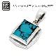 Square Turquoise Pendant - Silver