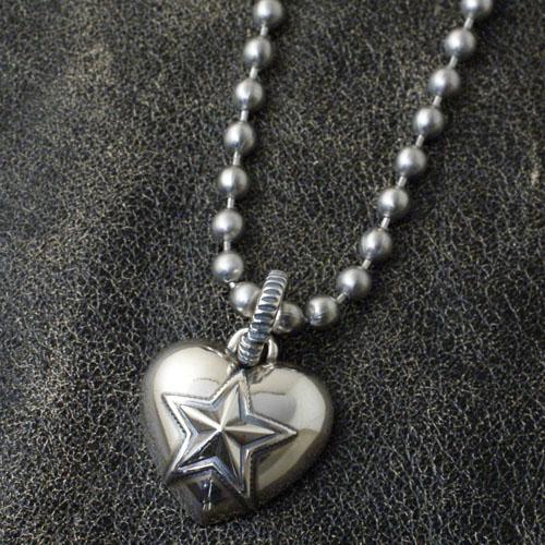 Heart & Sheriff Star PENDANT+STAINLESS BALLCHAIN
