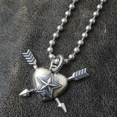 Heart & Sheriff Star Double Arrow PENDANT+STAINLESS BALLCHAIN