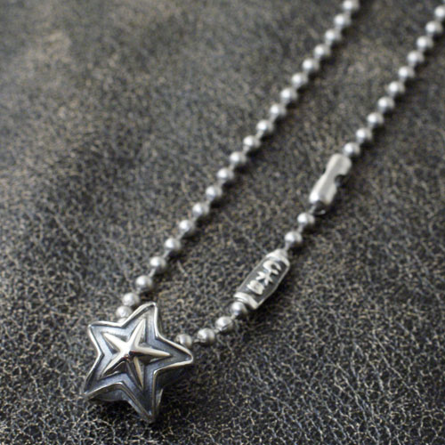 TINY DOUBLE FACE STAR STAINLESS BALLCHAIN NECKLACE