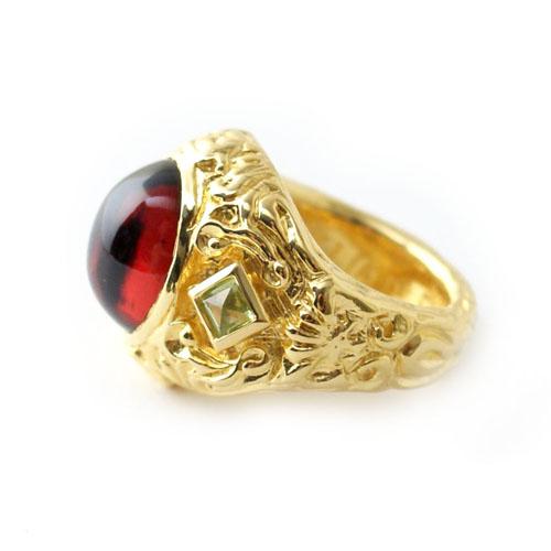 New Libertine Ring 18K Vermeil Genuine Garnet ver