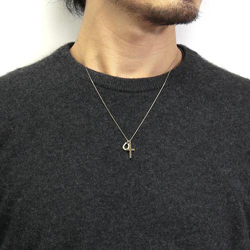 Small Charm Necklace - Horseshoe - K18 Yellow Gold w/Diamond(50cm)+Simple Cross Pendant - Small
