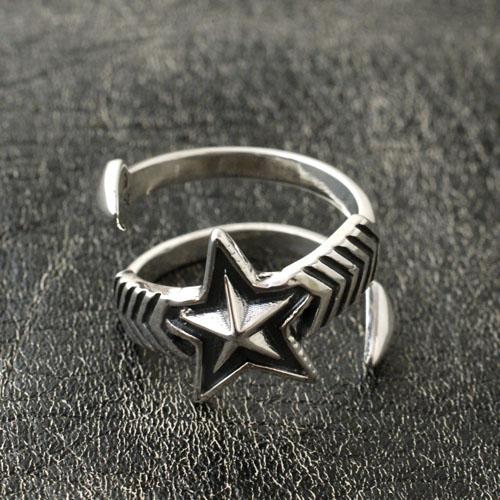 W-LARGE ARROW MIDIUM STAR FREE RING
