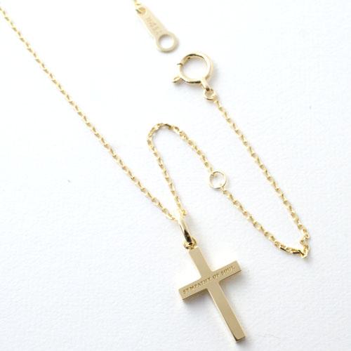 Simple Cross Pendant - Small+K18-2段階アジャストチェーン(太0.33)50cm