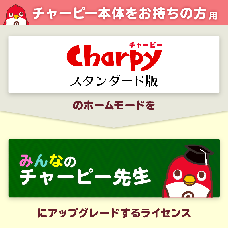 『チャーピー(スタンダード)』のホームモードを「みんなのチャーピー先生」に変更するアップグレードライセンス