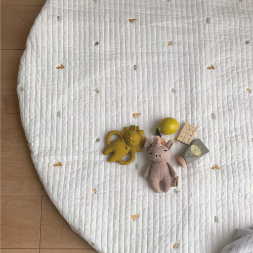 Round rugmat Embroide Fox