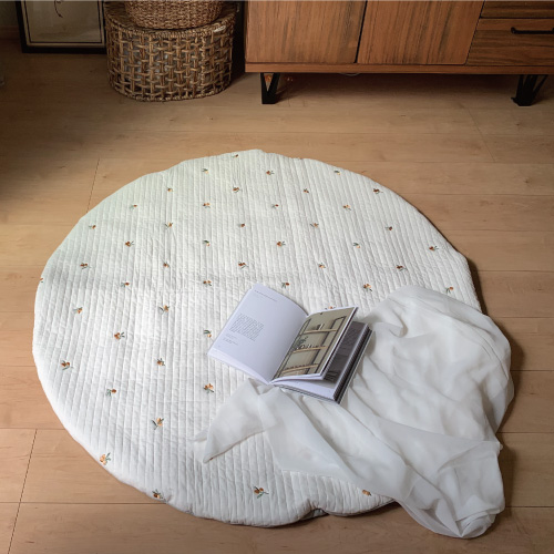 Round rugmat Embroide Olive